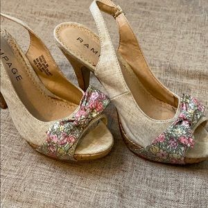 Linen and Cork Heels with Floral Bow Accent
